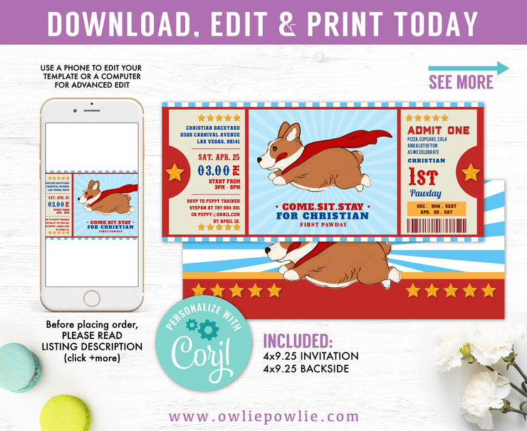 Superhero Corgi Puppy Ticket Pass Birthday Invitation Party Printable Template