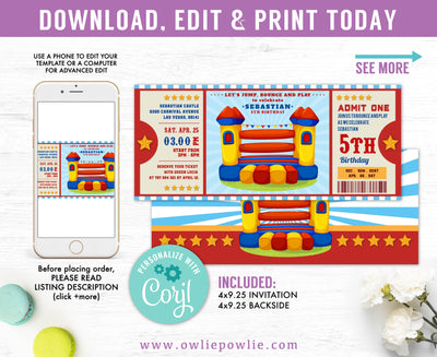 Bouncy Castle Ticket Pass Birthday Invitation Party Printable Template