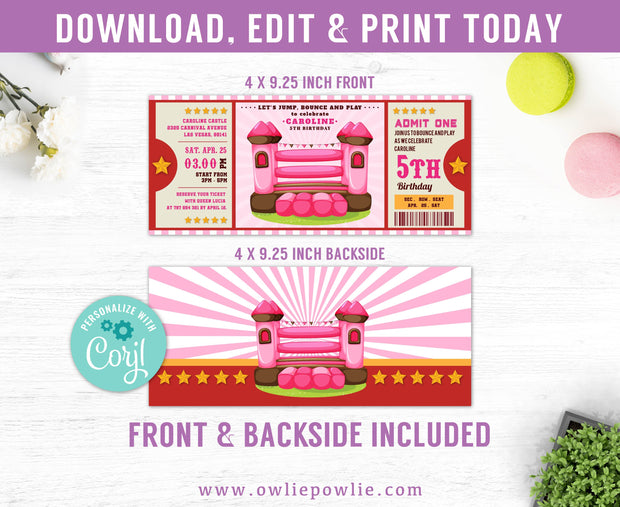 Pink Bouncy Castle Ticket Pass Birthday Invitation Party Printable Template