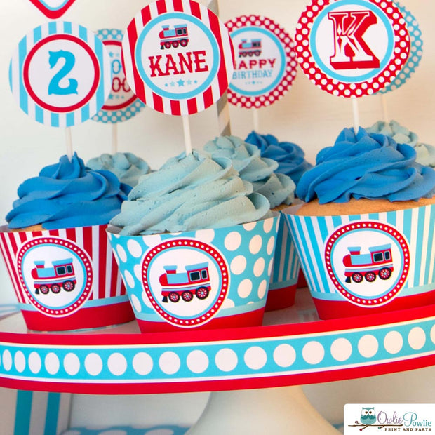 Blue Red Choo Choo Train Birthday Party Package