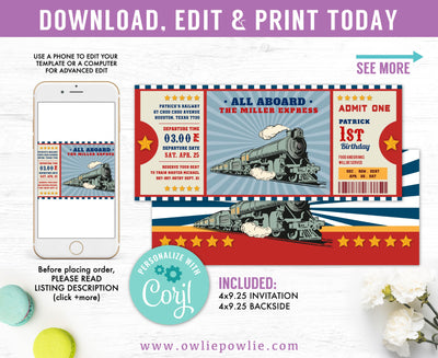 Vintage Train Ticket Boarding Pass Birthday Invitation Party Printable Template