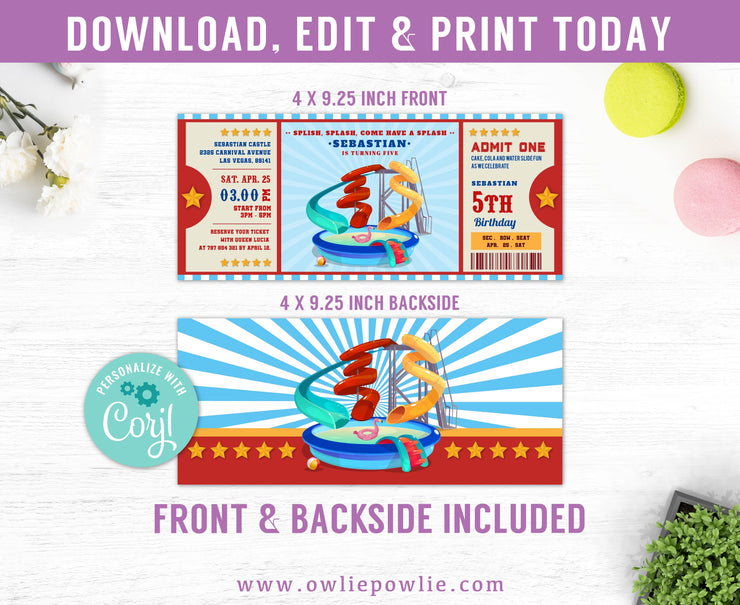 Water Park Ticket Pass Birthday Invitation Party Printable Template