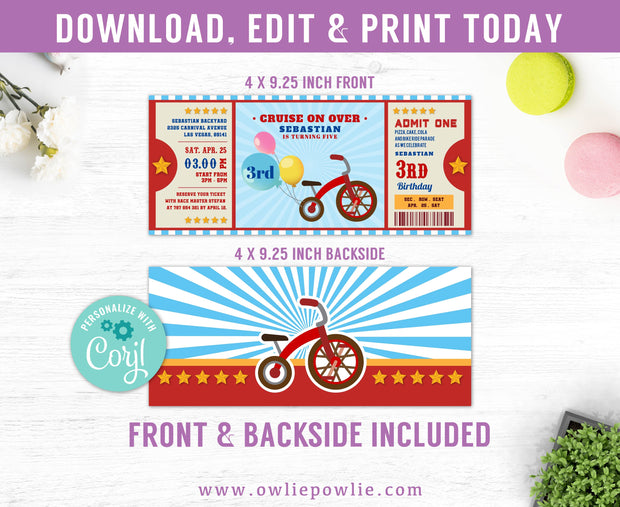 Red Tricycle Ticket Pass Birthday Invitation Party Printable Template