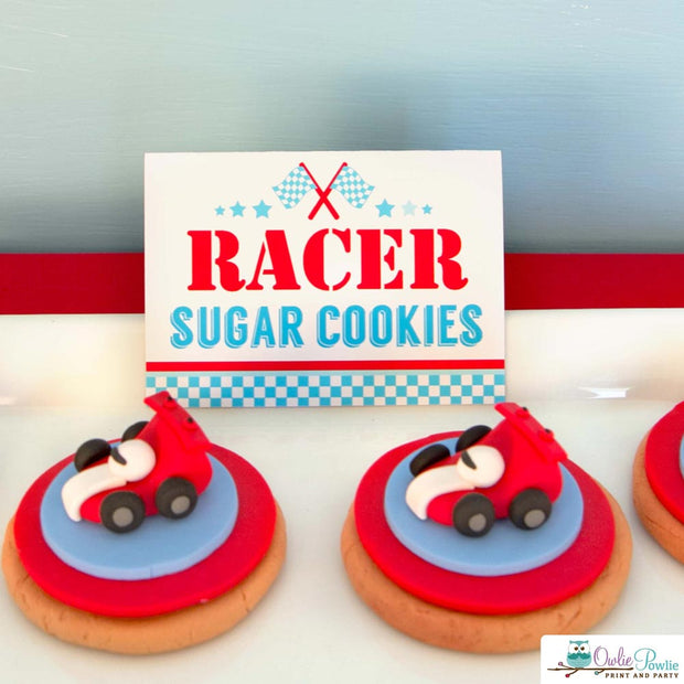 Blue Red Race Car Birthday Party Package