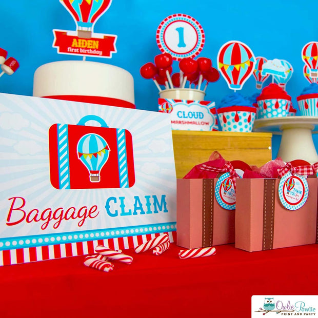 Red Blue Hot Air Balloon Baby Shower Party Package