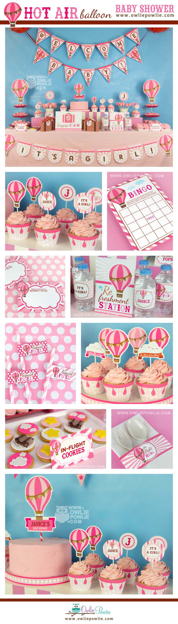 Pink Hot Air Balloon Baby Shower Party Package