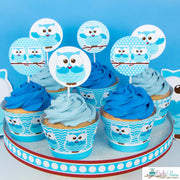 Blue Hoot Owl Baby Shower Party Package