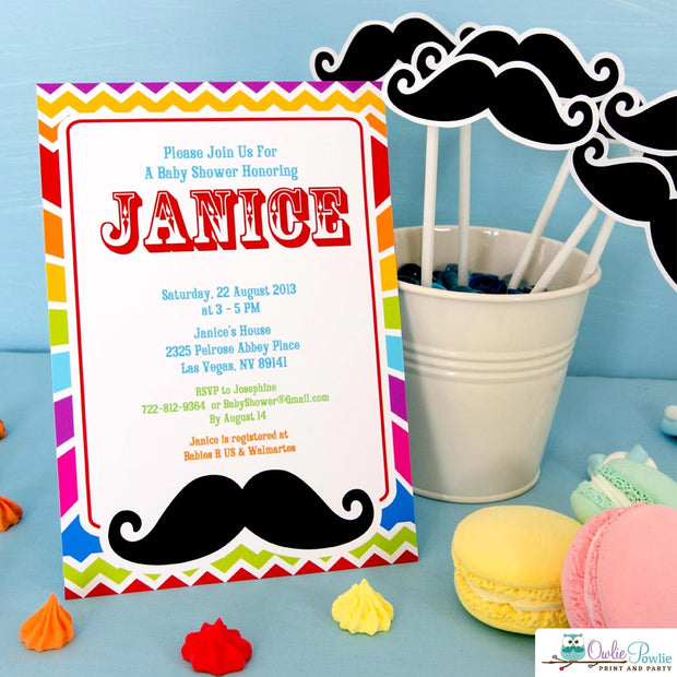 Rainbow Mustache Bash Baby Shower Party Package