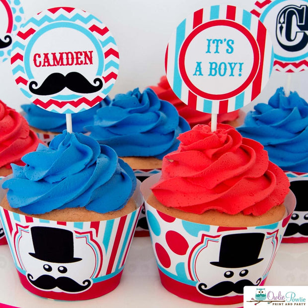 Blue Red Mustache Bash Baby Shower Party Package