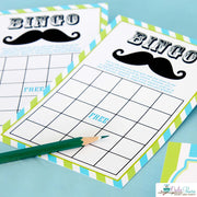 Lime Green Mustache Bash Baby Shower Party Package