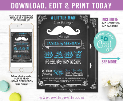 Chalkboard Vintage Mustache Bash Baby Shower Invitation Party Printable Template
