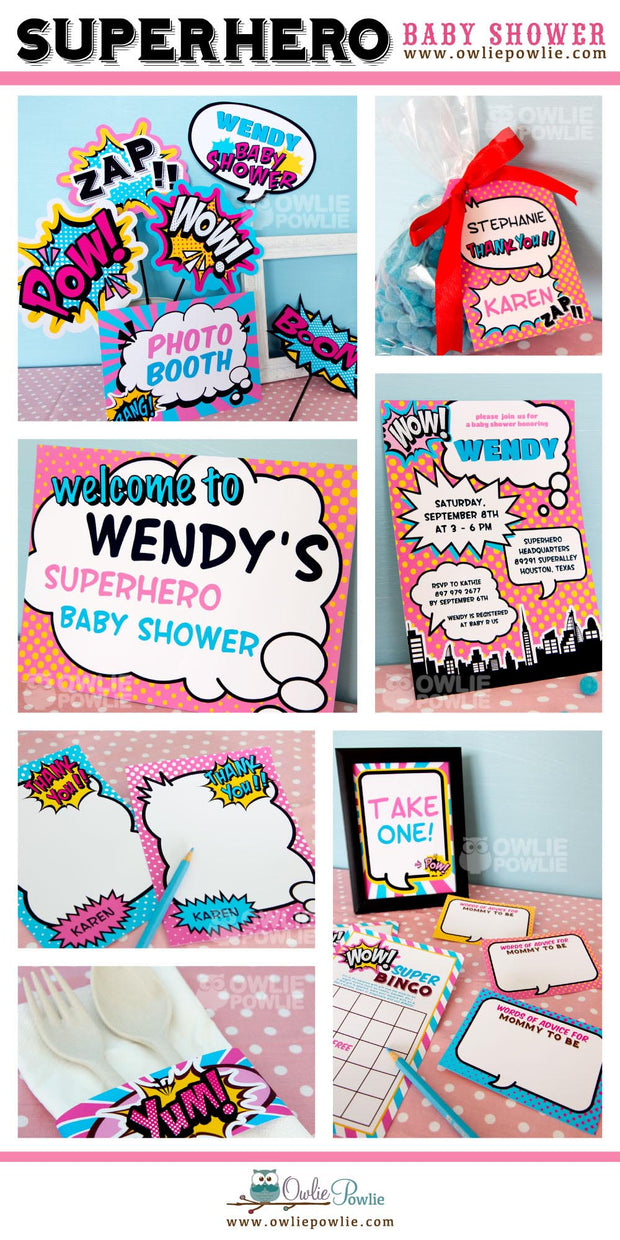 Pink Superhero Baby Shower Party Package