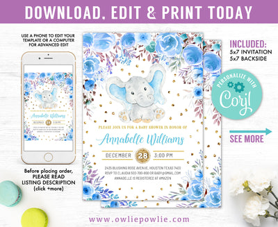 Elephant Baby Shower Invitation Party Printable Template