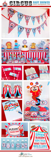 Red Blue Vintage Circus Baby Shower Party Package