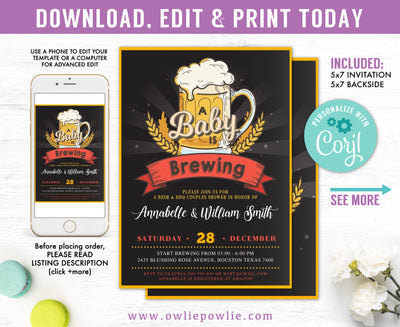 A Baby Is Brewing Baby Shower Invitation Party Printable Template