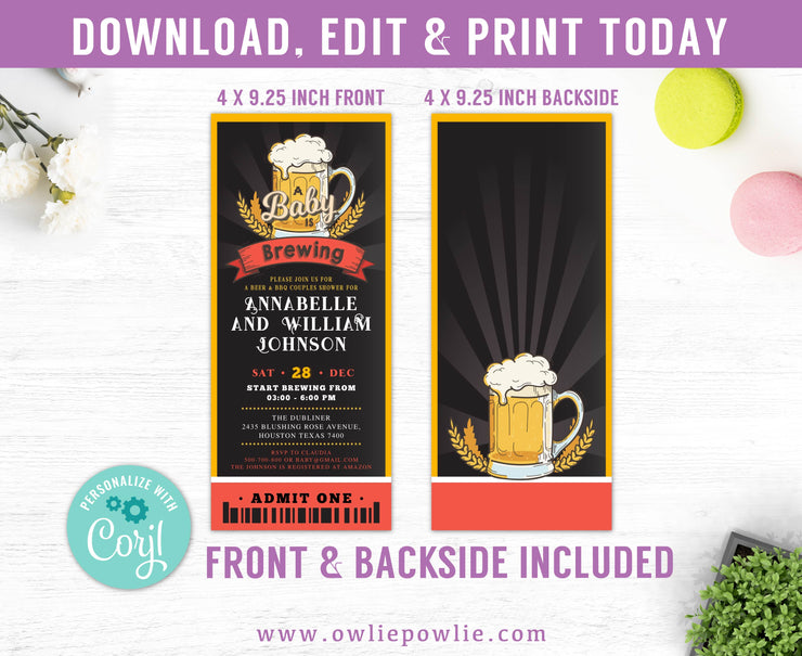 A Baby Is Brewing Ticket Pass Baby Shower Invitation Party Printable Template