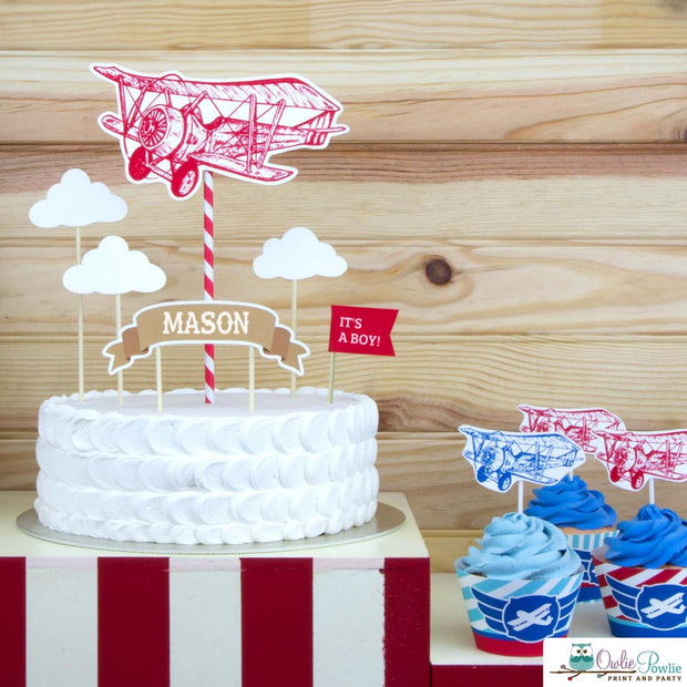 Vintage Airplane Baby Shower Party Package