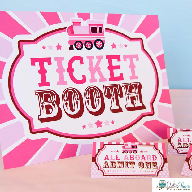 Pink Choo Choo Train Baby Shower Party Package