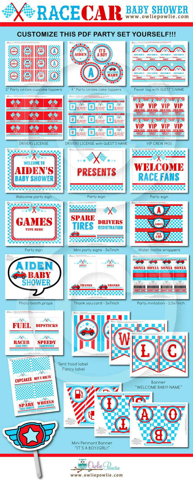 Blue Red Race Car Baby Shower Party Package