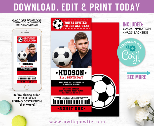 Soccer Ticket Pass Birthday Photo Invitation Party Printable Template