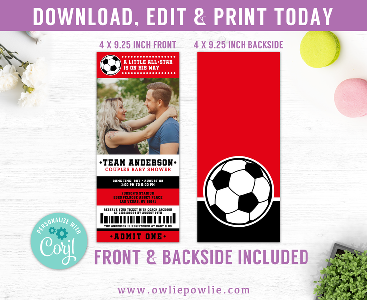 Soccer Ticket Pass Couples Baby Shower Photo Invitation Party Printable Template