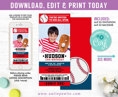 Baseball Ticket Pass Birthday Photo Invitation Party Printable Template