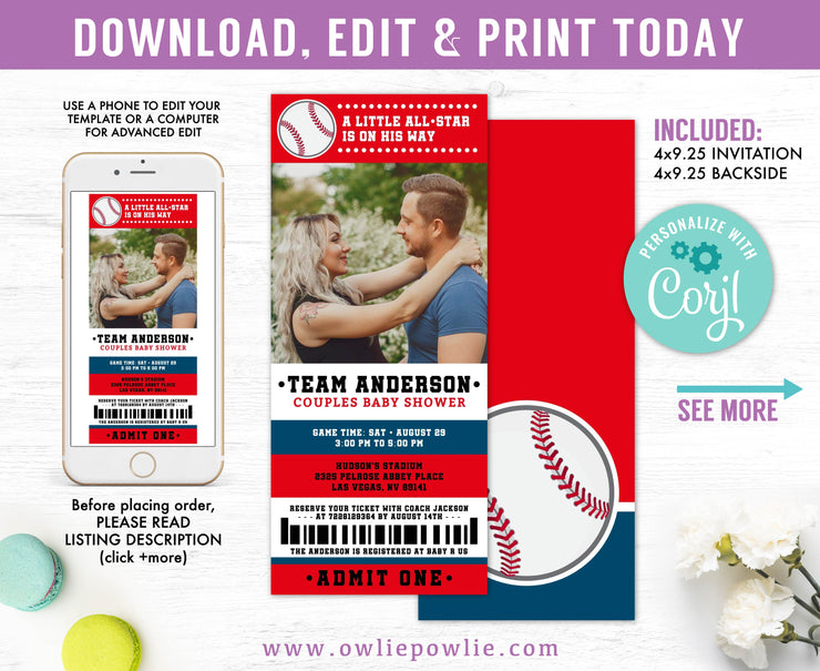 Baseball Ticket Pass Couples Baby Shower Photo Invitation Party Printable Template
