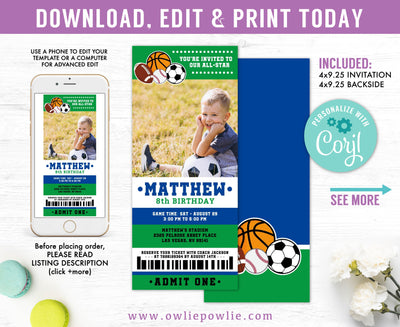 All Star Sport Ticket Pass Birthday Photo Invitation Party Printable Template