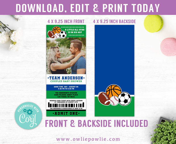 All Star Sport Ticket Pass Couples Baby Shower Photo Invitation Party Printable Template