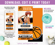 Basketball Ticket Pass Birthday Photo Invitation Party Printable Template