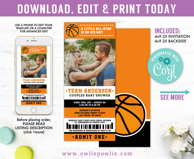 Basketball Ticket Pass Couples Baby Shower Photo Invitation Party Printable Template