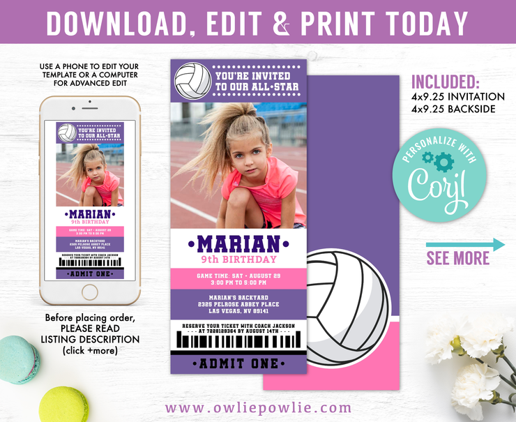 Volleyball Ticket Pass Birthday Photo Invitation Party Printable Template