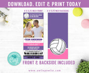 Volleyball Ticket Pass Couples Baby Shower Photo Invitation Party Printable Template