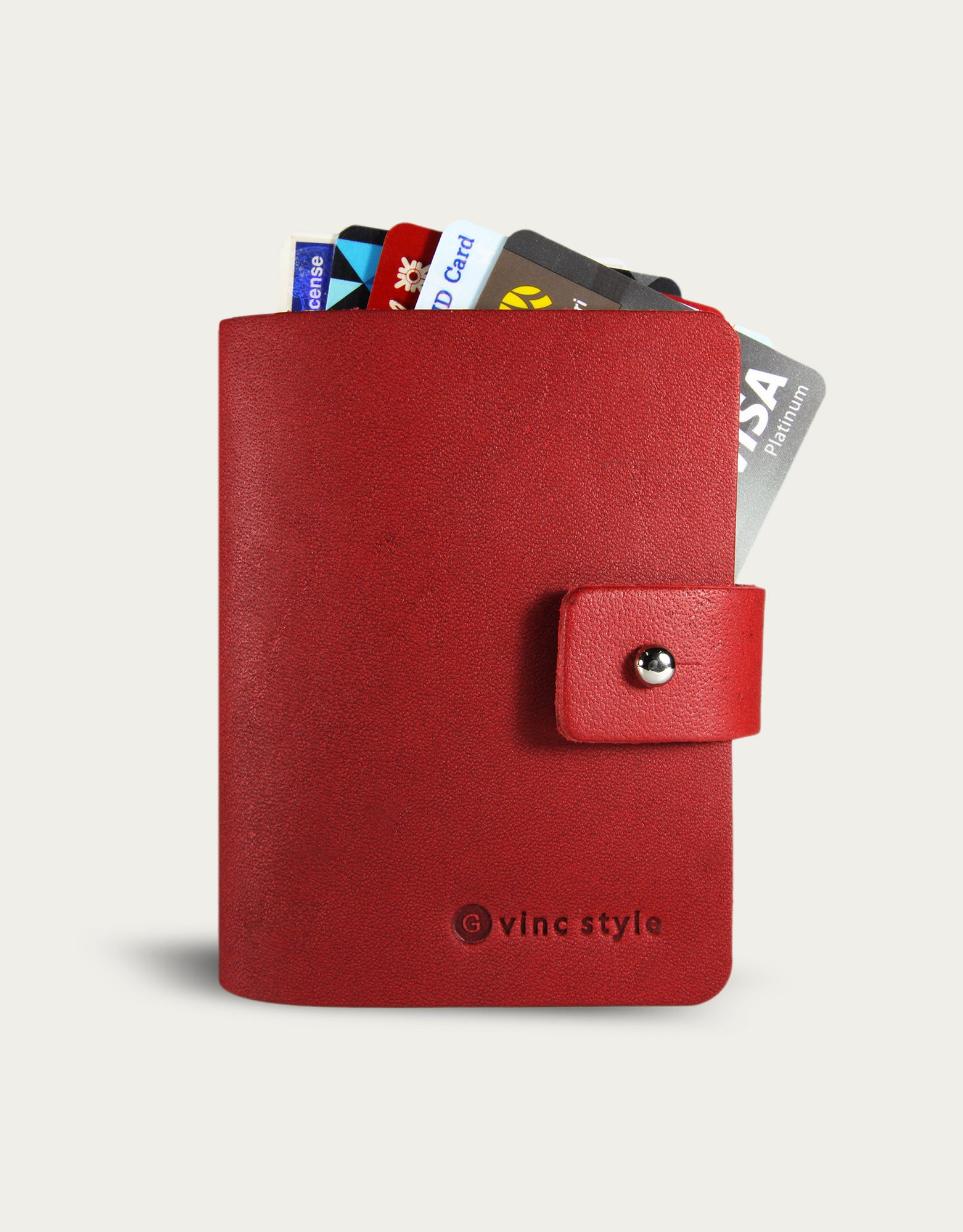 Leather Bi-fold Card Cover - Red