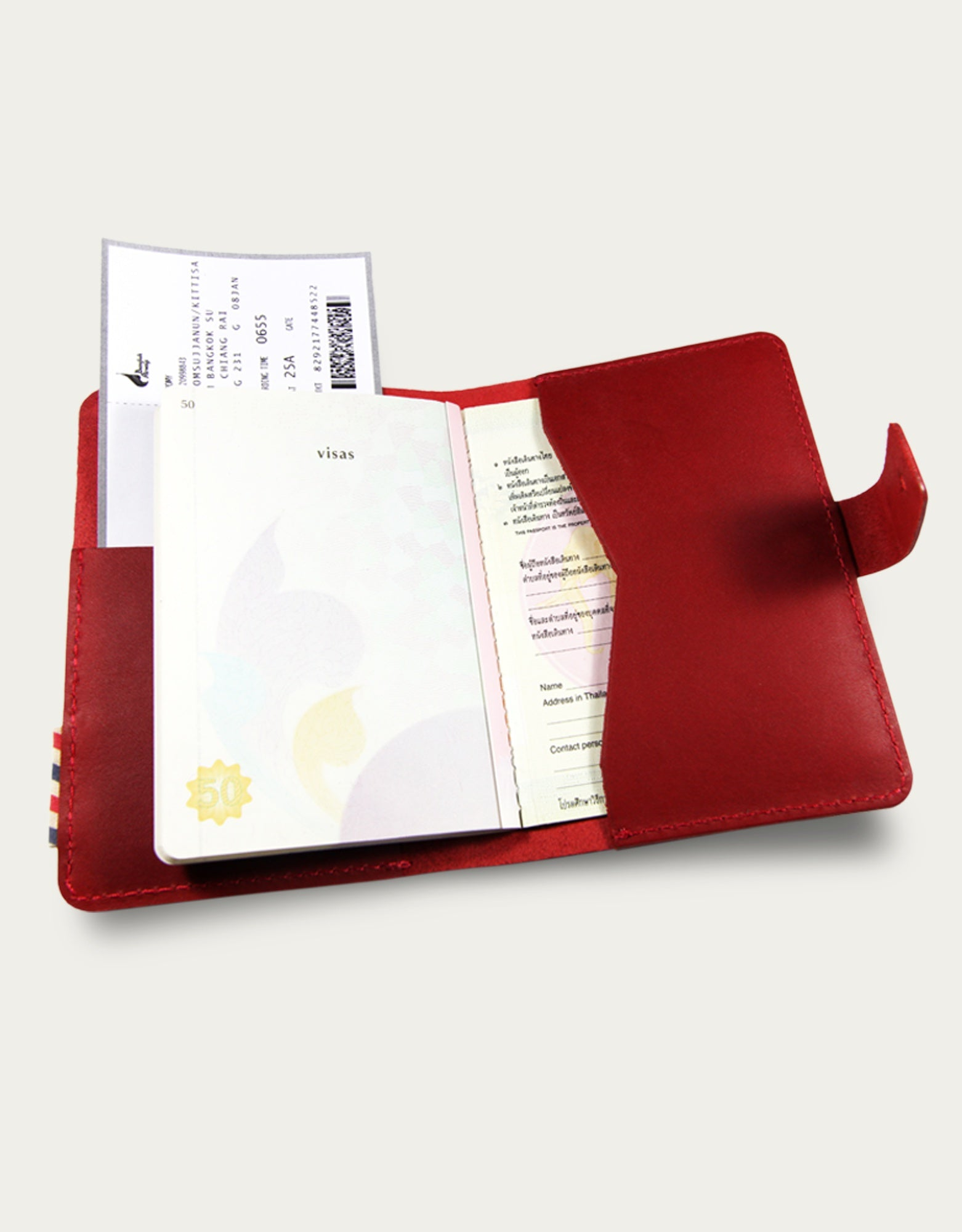 Leather Traveller Book Cover - Red