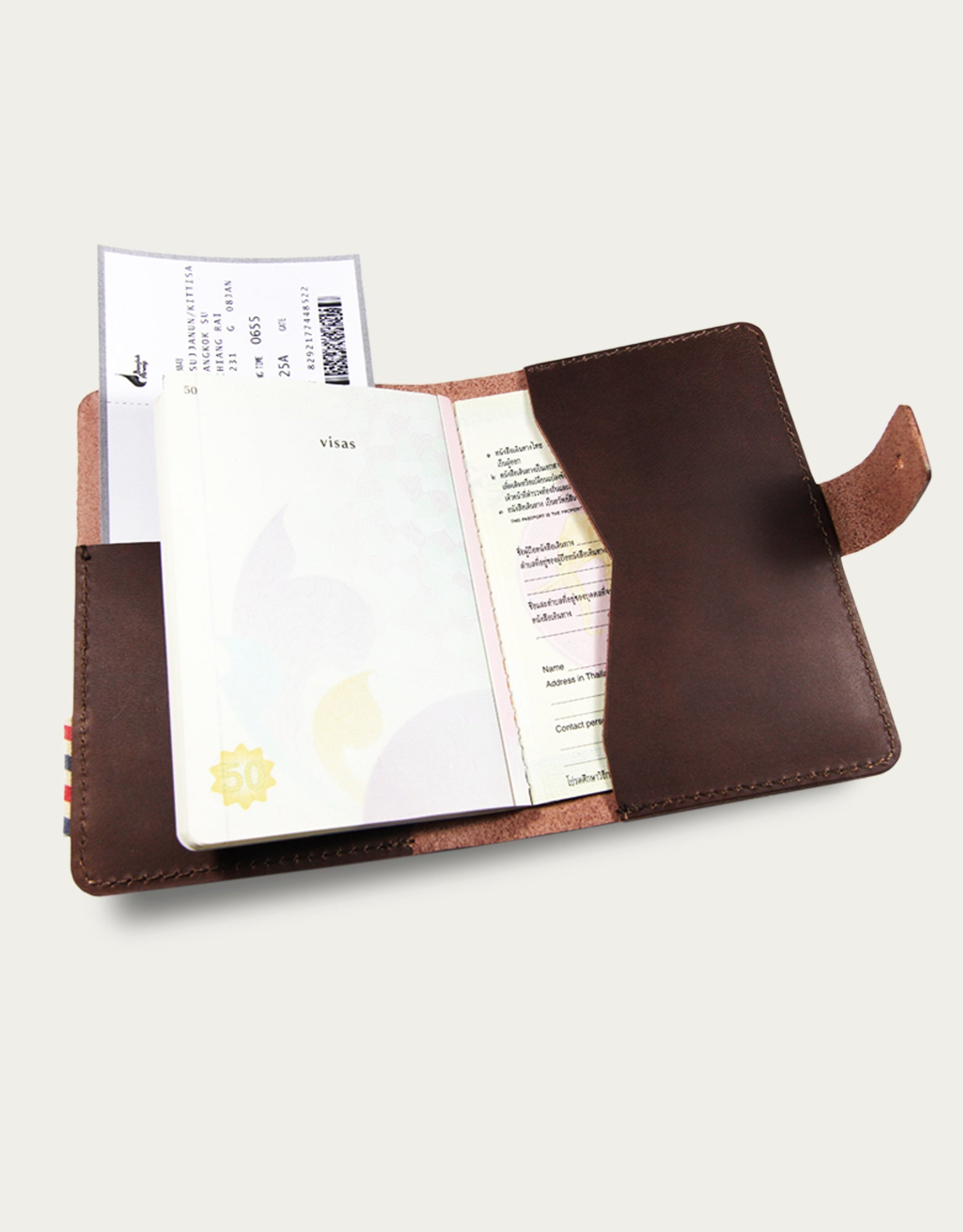 Leather Traveller Book Cover - Brown