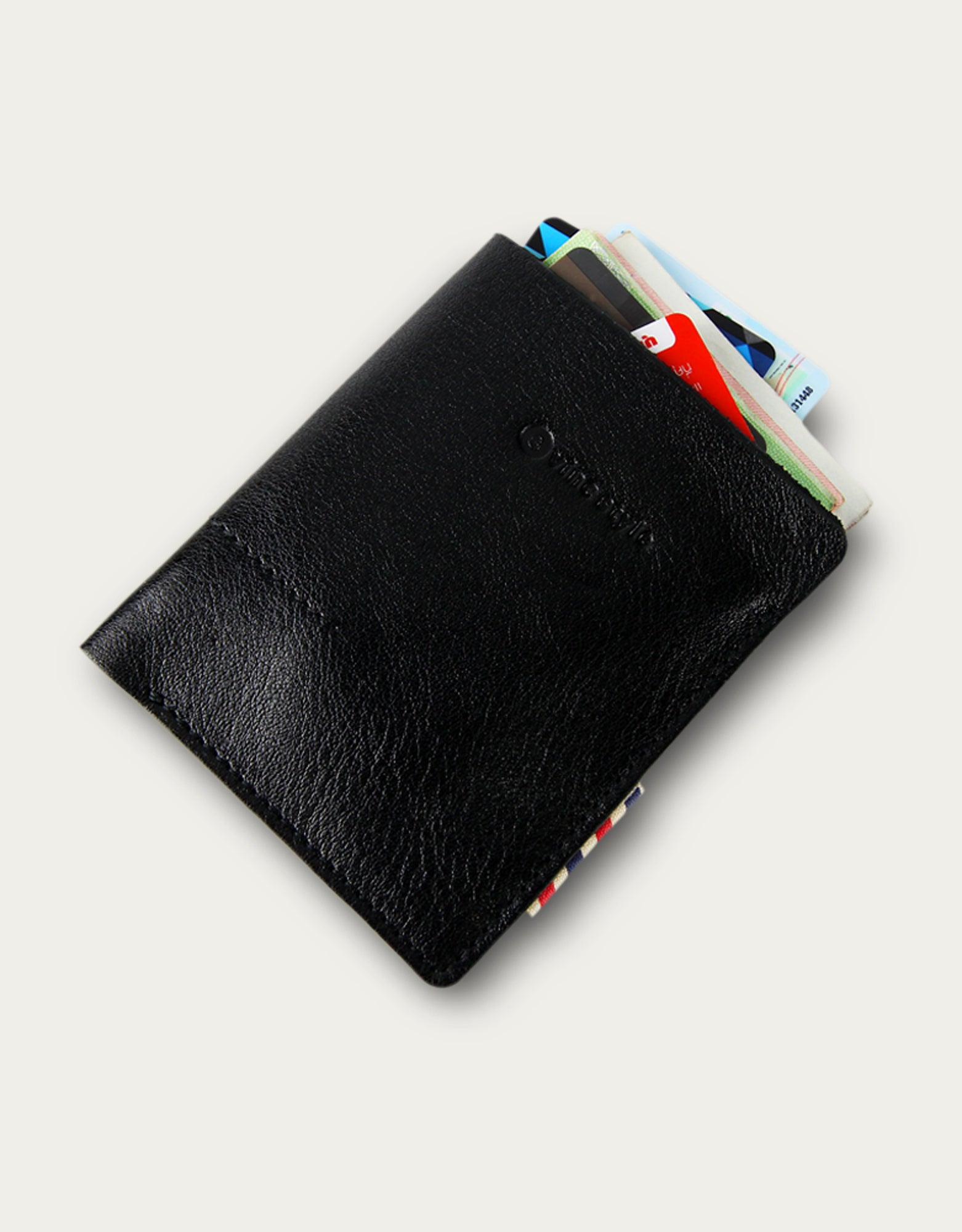 Leather Card and Money Cover - Black