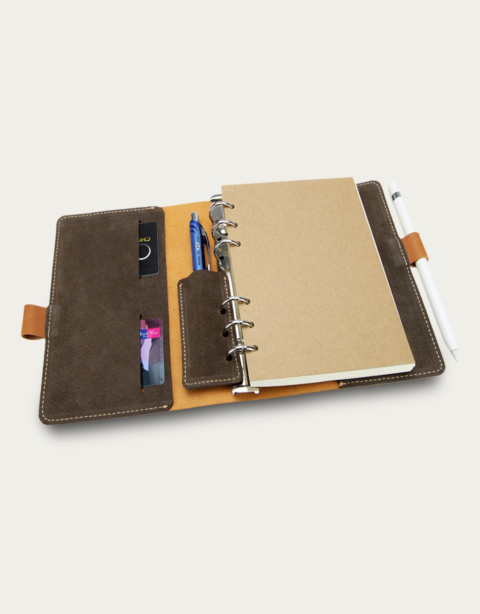 Leather Pen lock Notebook (M) - Beige