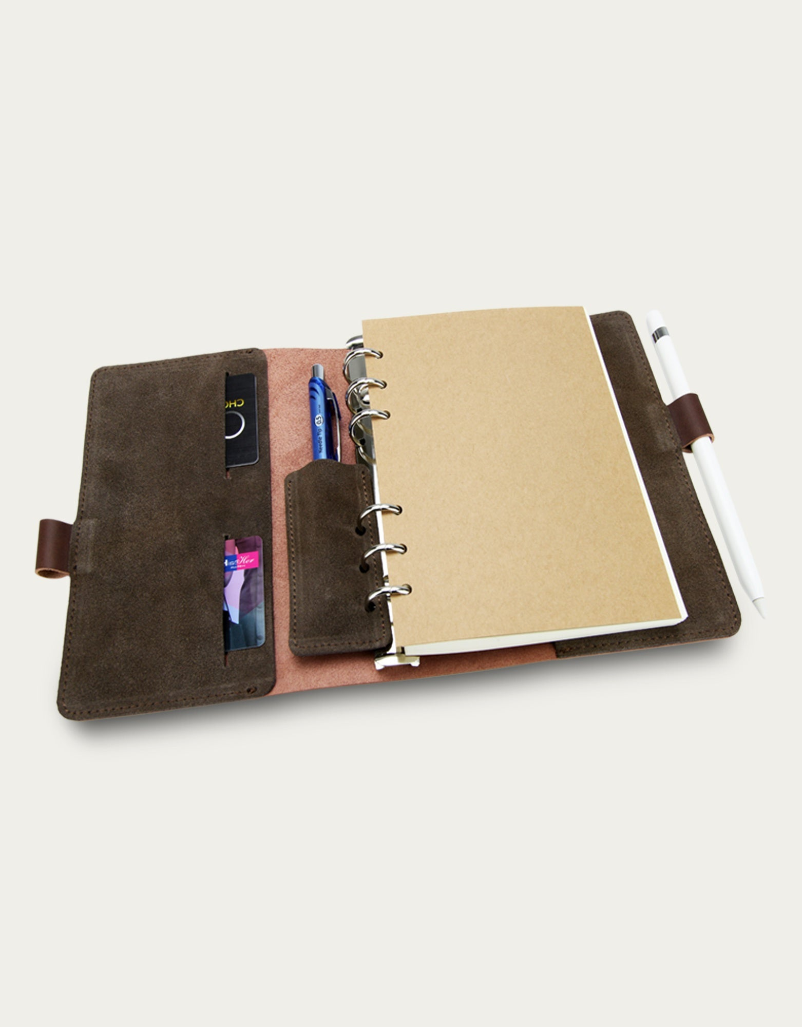 Leather Pen lock Notebook (M) - Brown