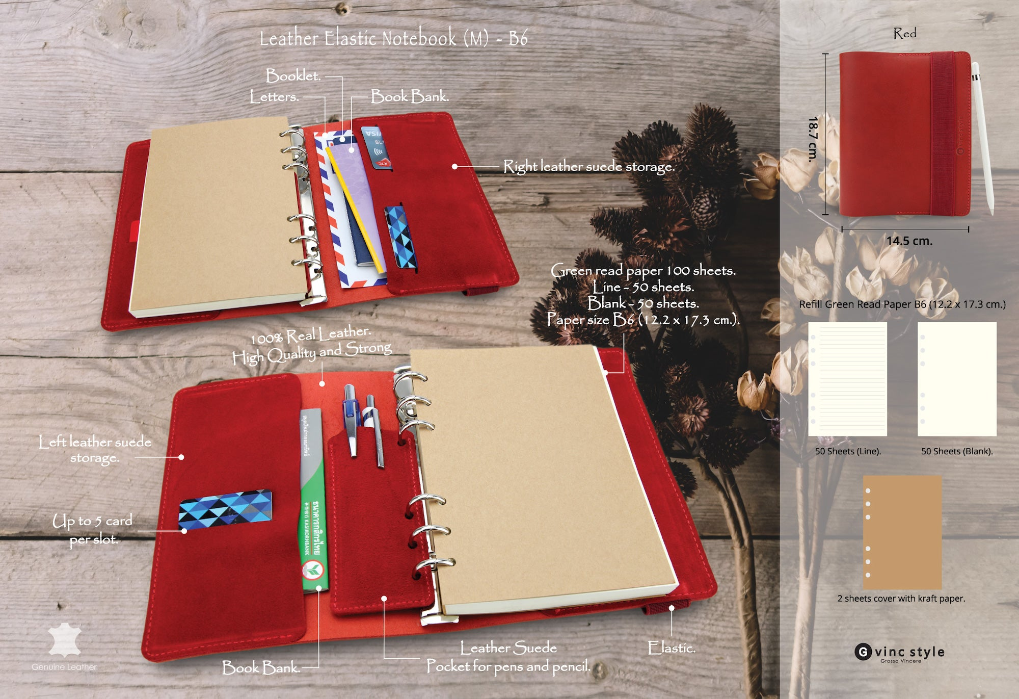Leather Elastic Notebook (M) - Red