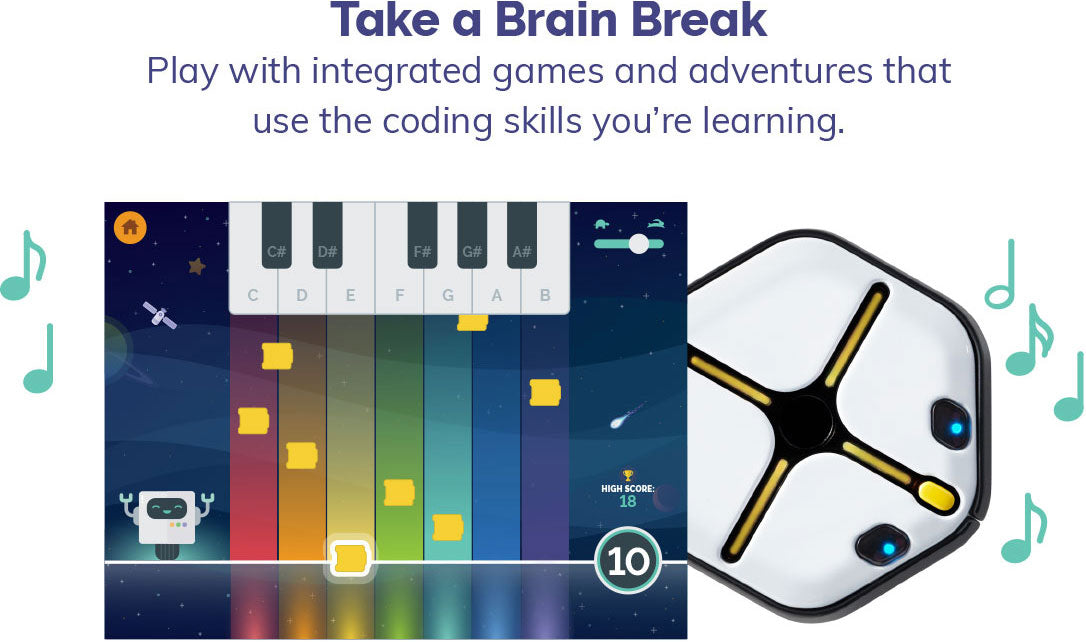 Play with integrated games and adventures that use the coding skills you're learning.