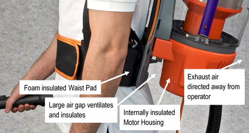 Visual diagram of the Rugged Advantage vacuum cleaner's motor exhaust direction and insulation features to minimise heat felt by the user