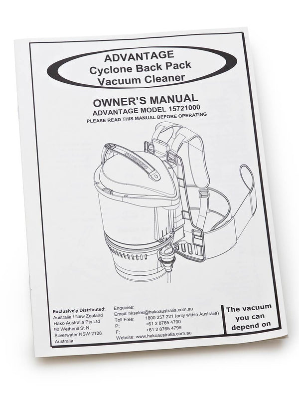 Owners manual for the Advantage Ultimate Turbo Combo vacuum cleaner