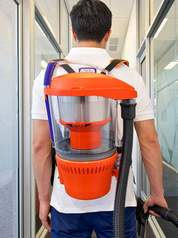 Cleaning an office hallway easily and comfortably with the Advantage Ultimate Turbo Combo