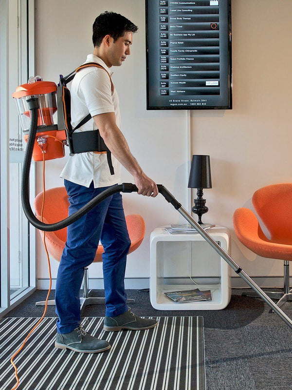 Cleaning a foyer of an office across different types of surfaces with the Advantage Ultimate Turbo Combo
