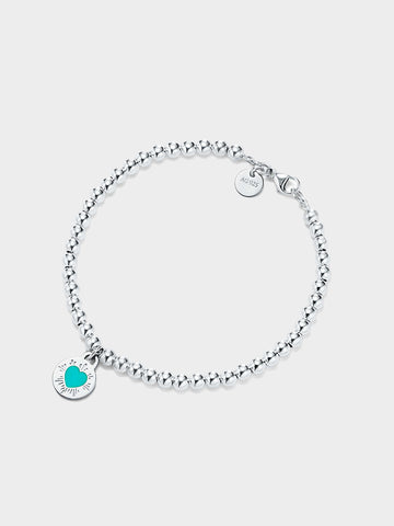 Women's Round Blue Heart Bead Bracelet