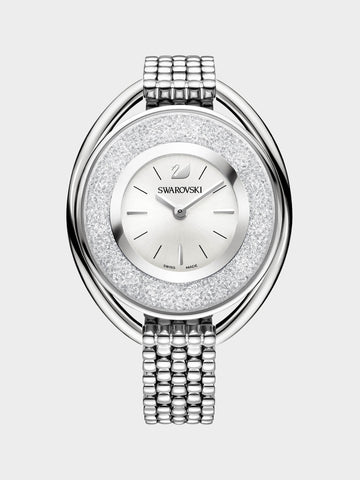 Women's Crystalline Oval  Silver Watch