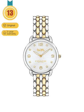 Coach Women's Gold and silver mixed with Delancey Quartz steel band wrist watch