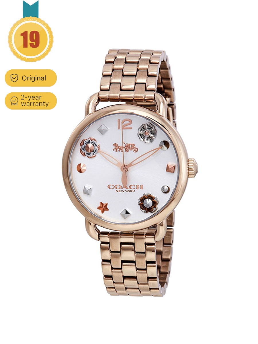 Coach Women's Rose Gold Delancey Quartz steel band disc flower Watch
