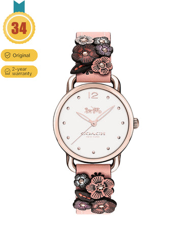 Coach Pink Delancey Ladies Quartz Belt Flower Subdial Watch
